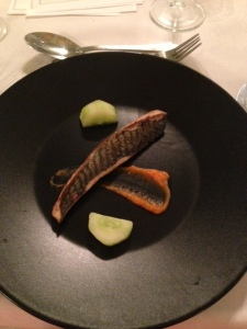 Mackerel, sea buckthorn, carrot, cucumber and Alexander