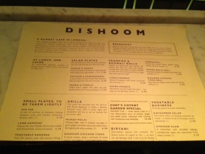 The Dishoom Menu
