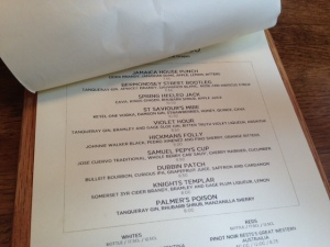 Tanner & Co Cocktail List
