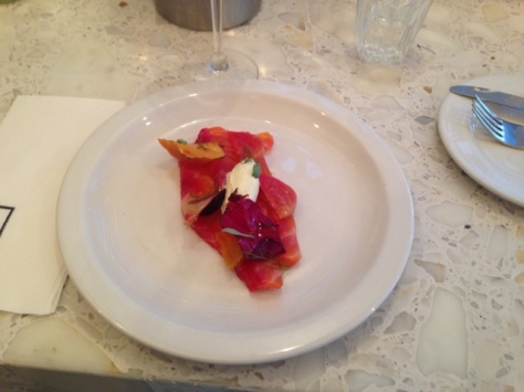 Beetroot Cured Loch Duart Salmon, served with Baby Coloured Beets and Horseradish Cream
