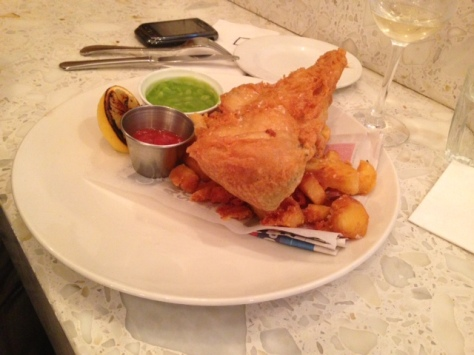 Beer Battered Sea Haddock with Beef Dripping Chips, Mushy Peas and Shack Ketchup