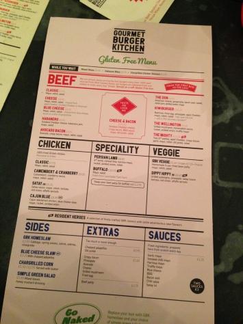 Gourmet Burger Kitchen Gluten Free Menu