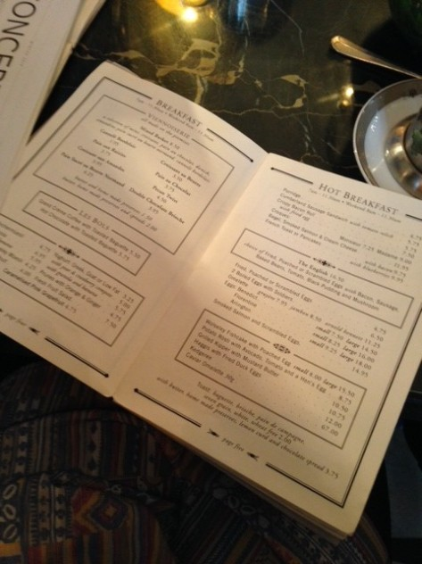 The Wolseley Breakfast Menu