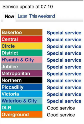 Remember everyone, it is not a tube strike. It is a 'special service'.